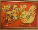"""Acrylbild """"Hühner"""" von de Koning"""".jpg"""